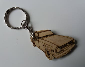 Triumph TR6 Keyring  Etched detail wooden