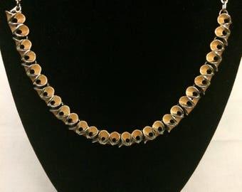 Vintage Gold Tone Orange Enamel Necklace