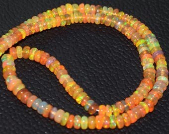 Ethiopian Opal Multi Fire Opal High Quality Opal Smooth Rondelle Beads AAA 6.5 - 3 MM Size 10 Inches Strand