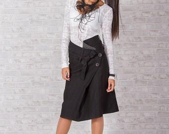 Knee Length Skirt/ Black SKirt/ High Waisted Skirt/ Cotton Skirt/ Short Skirt/ Elegant Skirt/ Designer Skirt/ Flare Skirt/ Friends Fashion