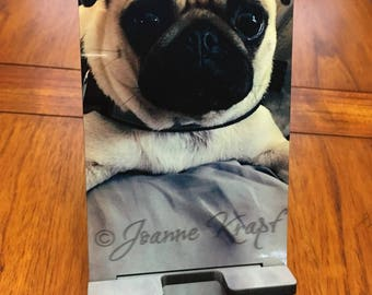 I Love Pugs Cell Phone Stand by Joanne Krapf