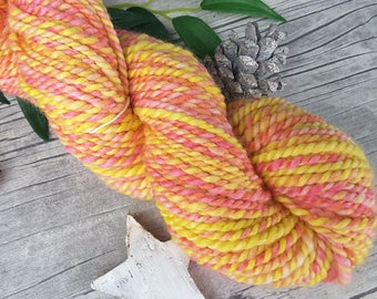 "Yarn handspun hand dyed - bluefaced leicester - ""Lemonade Sweets II"" - 80yds/3,70oz - 2ply"