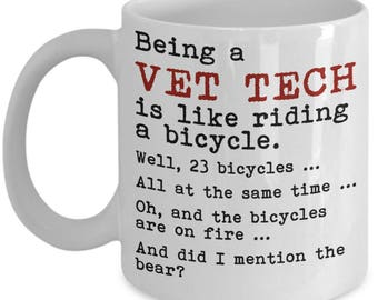 Vet Tech Mugs - Being A Vet Tech Is Like Riding A Bicycle - Funny Veterinary Technician Gifts