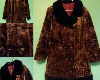 1970s Crushed Silky Faux Fur Peacoat