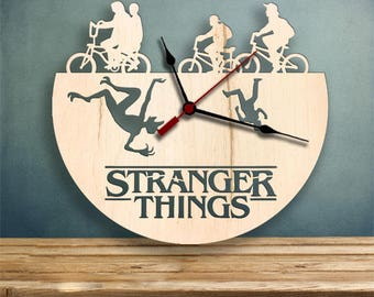 Stranger Things clock, Wood Clock, Gifts for Her, Gifts for Him