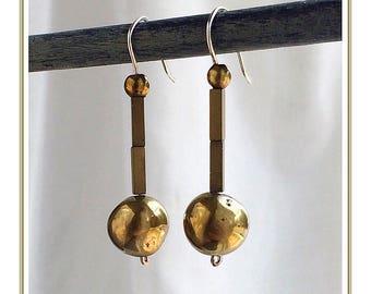 Gold Minimalist Drop Earrings//Gold Ball Drop Earrings//Hematite Drop Earrings With Druzy Agate Ball, Gold//Minimalist Stick Earrings.