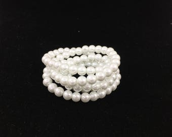 8mm/32inch/105pc True White Glass Pearl Strand
