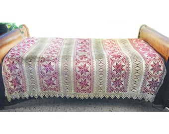 SALE! Bedspead/Coverlet, Vintage Hand Embroidered & Crocheted, Collectible, Finnish or Russian?