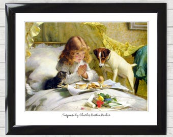 Art Print Gift Suspense by Charles Burton Barber Framed Picture Poster High Resolution  Home Decor Gift 019