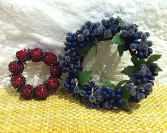 Vintage 2 flowers / berries party flower wreath miniature hand work hand-made doll accessories or decoration for all kinds of