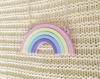 Rainbow Acrylic Necklace In Pastel