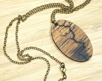 NEW Elements Line - by Smitten Sloth - Wooden Necklace Pendant - one of kind - high voltage fractal burn -