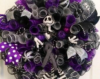 Jack Skellington Wreath, Nightmare Before Christmas Wreath Inspired, Halloween Wreath, Jack Door Hanger, Halloween Mesh Wreath