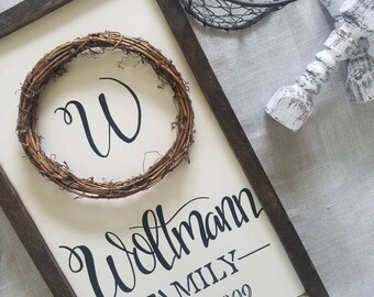 Family name sign with wreath