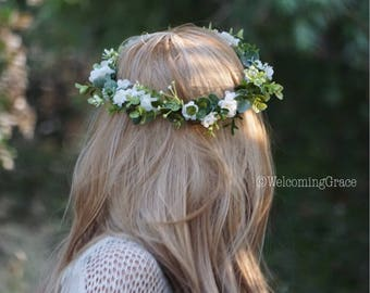 Flower crown wedding, baby's breath look crown, white floral crown, flower headband, bridal headpiece