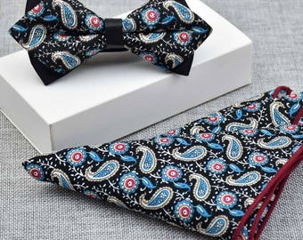 Handmade Bow Ties and Pocket Square by LoubyLou and co Floral, Paisley, Wedding, Special Occasion