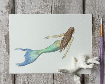 ORIGINAL mermaid illustration art painting drawing watercolour watercolor. Not a print.