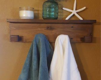 Wood Towel Hanger-Towel Rack-Bathroom Towel Hanger-Towel Hanger with Shelf-Bathroom Shelf-Bathroom Decor-Towel Hooks-Kitchen Towel Hanger