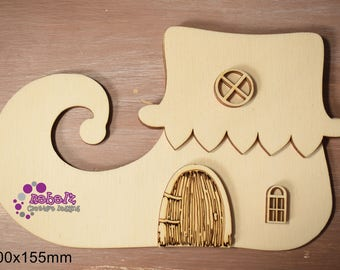Laser Cut and Engraved Elf Shoe or Hat Fairy House