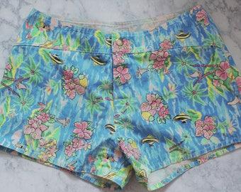 SALE // 80s 90s Bright Summer Tropical Beach Board Shorts