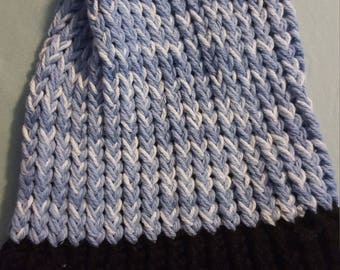 Large Blue and Black Beanie