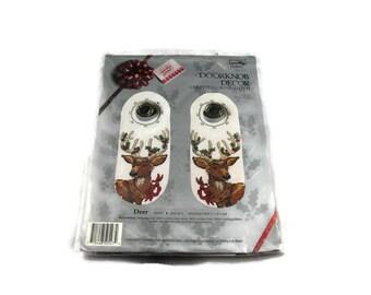 Something Special Doorknob Counted Cross Stitch Set of 2 Christmas Deer Doorknob Decor #50547, Sealed