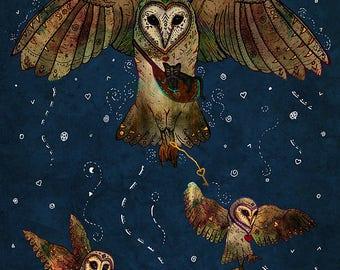 HEALERS OF LIGHT 8x11 Fine Art Print // Barn Owl Illustration, Whimsical Art, Magical, Owl and Cat, Birds, Spirit Animal, Totem Animal