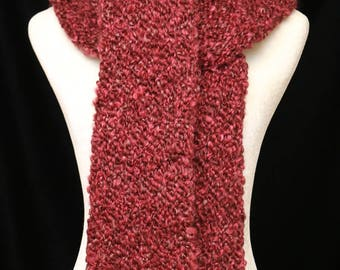 Handmade Knitted Scarf   Claret