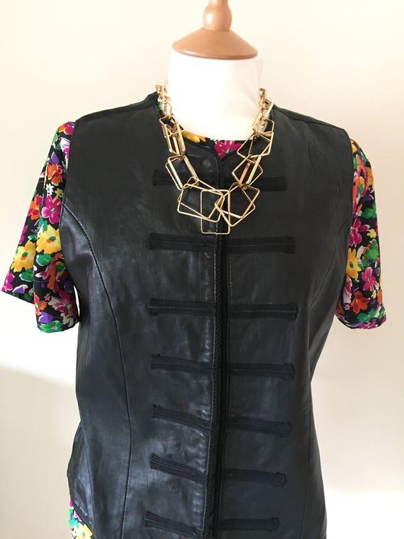 Vintage Margaret Godfrey Black Leather Waistcoat Of0wmbN3SX