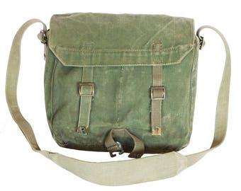 Green Messenger Bag, Crossbody Bag Travel Bag, Army Crossbody Bag, Vintage Army Bag, Green Heavy Duty Canvas Bag