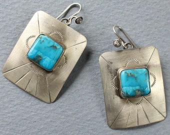 Turquoise Earrings Navajo Indian Sterling Silver Native American Wires
