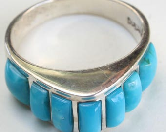Turquoise Sterling Silver Inlay Ring Navajo Indian Native American
