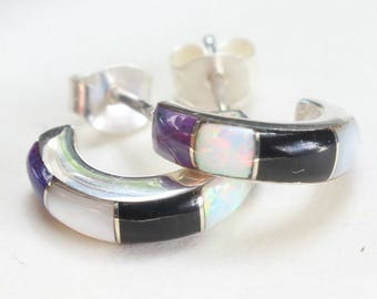 Sterling Hoops Inlay Inlaid Opal Onyx Sugilite Mother of Pearl Native American Small Tiny Little
