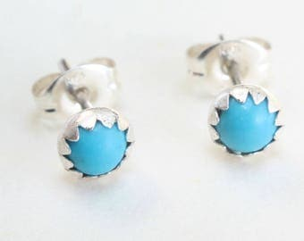 Sterling Silver Studs Turquoise Earrings Zuni Indian Native American Small Tiny