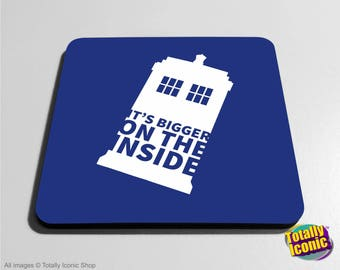 Doctor Who - Drinks Coaster Mats - Its Bigger on the Inside - Tardis  - Time Machine - Time Travel - Police Call Box