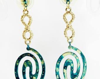 """Earrings """"Tina"""", stem gold metal frame, handmade"""