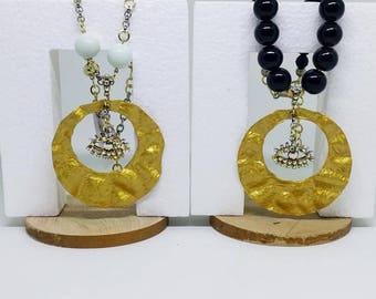 Short necklace, Black necklace, Statement necklace, Evil eye necklace, Evil eye pendant, Evil eye jewelry, Handmade necklace!