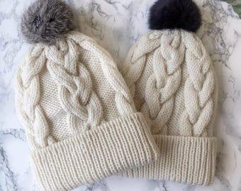 Valentine's Gift Winter Pom Pom Hat Gift for Women, Knit Hat with Pom, Women Winter Hat, Warm Winter Hat, Wool Hat, Beanie for Women
