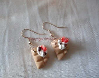 Square white chocolate, whipped cream, strawberry earrings
