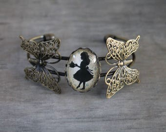 """Butterfly glass cabochon """"Alice"""" Vintage""""brass Cuff Bracelet"""