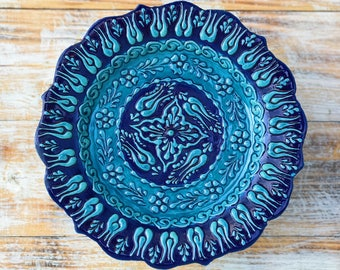 Plate, blue plate, pottery plate, navy dish, blue dish, decorative plate, pottery dish, handmade plate, colorful plate, small platter