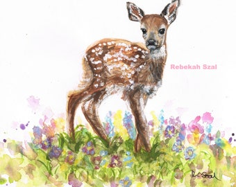Deer painting , Bambi artwork