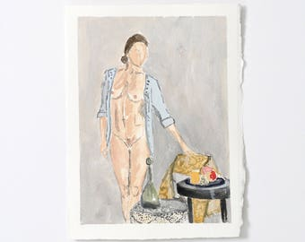 Lady with table / Figure Painting / Original Watercolor / Naked Lady Art / Nude Drawing