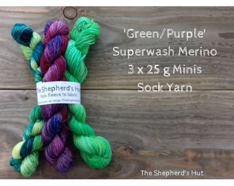 Superwash Merino/Nylon 80/20 Sock yarn Minis 3 x 25 g Green Purple  No.3.