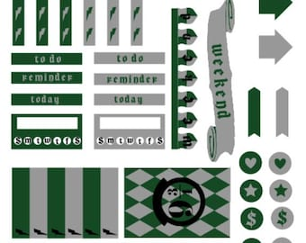 Harry Potter Slytherin Inspired Planner Stickers For Happy Planner