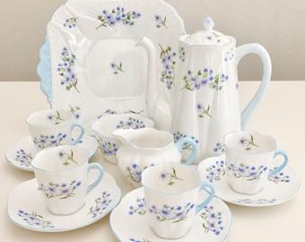 Vintage demitasse coffee set for 4, Shelley Blue Rock pattern