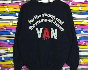 Rare!! Vintage VAN Crewneck Big Logo Front Back Black Colour Large Size