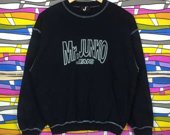 Rare!! Mr Junko Sweatshirt Spellout Big Logo Embroidery