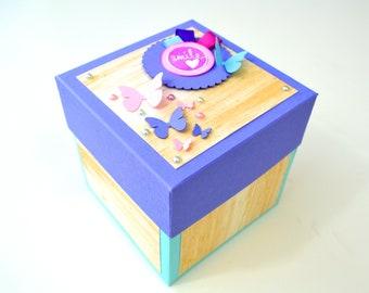 Exploding Box Card / Blue, Pink & Purple Explosion Box - Anniversary gift box / Birthday Gift Box / Valentines Gift Box / Wedding Gift Box