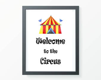 Welcome to the Circus Print, nursery print, kids room print, play room print, home decor, nursery decor, kids room decor, nursery art, room
